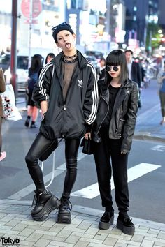 Cham (19) and Baek (17) on the street in Harajuku wearing dark looks featuring items from Never Mind The XU, FETIS, Demonia, Chanel, Nadia Harajuku, Adidas, and Zara. Full Looks