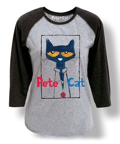 Another great find on #zulily! Gray & Black Pete the Cat Frame Raglan Tee - Women #zulilyfinds