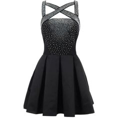 'PARISA' BLACK STRETCH SATIN AND CREPE CRYSTALLISED SKATER DRESS (€150) ❤ liked on Polyvore featuring dresses, vestidos, short dresses, black, low back cocktail dress, low back dress, circle skirt, sexy dresses and mini dress