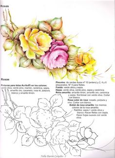LAMINAS... Y TRABAJOS CON FLORES | Aprender manualidades es facilisimo.com.  A few painting patterns for roses here.