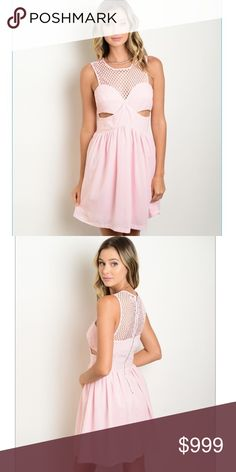 """Pink Cut-Out Dress This sleeveless woven fit and flare dress features a mesh net yoke. Sweetheart Neck with cutout accent. Exposed zip back closure. 100% polyester. 33"""" length. Dresses"""