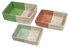 Asst of 3 Colorblock Shallow Baskets - could do this to baskets you already have.