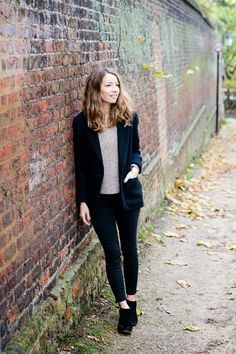 Four Fall Outfits | A Cup of Jo: black blazer + taupe sweater + black jeans + booties