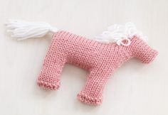 Ravelry: Rosy Pony pattern by Lion Brand Yarn Baby Knitting Patterns, Knitting For Kids, Easy Knitting, Knitting Projects, Knitting Toys, Baby Patterns, Knitted Dolls, Crochet Toys, Knitted Cat