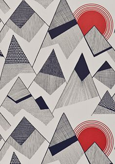 Mountains Red Sun Wallpaper from MissPrint.  Fun retro inspired wallcovering and fabric prints.