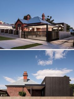 Janik Dalecki of Australian architecture firm Dalecki Design, has recently completed the renovation of a 100 year-old heritage listed home that included updating the facade as well as adding a modern extension. Australian Architecture, Australian Homes, Style At Home, Edwardian Haus, Victorian, Architecture Renovation, Old Home Renovation, House Renovations, Basement Renovations
