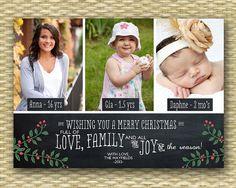 Christmas Photo Card - Customized, DIY Printable, Holiday - Chalkboard 3 Photo LS