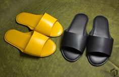 leather slippesr #leather #yellow #black #handmade #leathercrafts #artisna creator in leather #leathercraftsman Vegetable Leather, Shoe Pattern, Leather Slippers, Leather Projects, Leather Belts, Leather Design, Leather Working, Yellow Black, Baskets