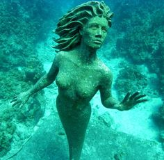 Simon Morris is the sculptor of the mermaid statues placed underwater in Powell River, B., and Grand Cayman, BWI, in promotion of diving tourism Mermaid Art, Mermaid Statue, Mermaid Sculpture, Sculpture Garden, Mermaid Lagoon, Underwater Sculpture, Powell River, Klimt, Mermaids And Mermen