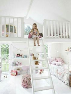 Girls Room with a loft and a round window.. super cute