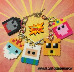 Adventure Time Charm Bracelet (Perler Beads) by MadamFandom  --- www.fb.com/MadamFandom