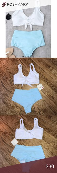 NWT Zaful swimsuit set NEW WITH TAGS. Top is padded. High waisted and cheeky bottoms. Bottoms are a really pretty sky blue color. 82% polyamide, 18% elasthane. Zaful Swim Bikinis