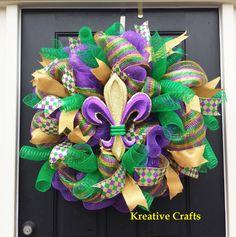 Mardi Gras Decor.  Wreath. Mardi Gras Deco Mesh.  Fleur De Lis