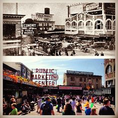 Pike Place market then and now #tbt #bustling #seattle #weloveourcity  Please remember to follow our Instagram! http://instagram.com/cozifamily