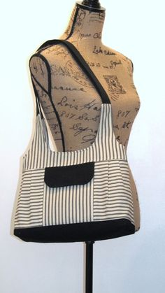 Bag / Purse Black Ticking with Black Accents