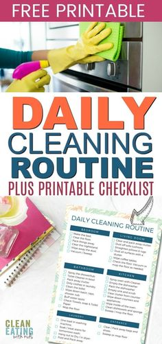 Daily Cleaning Routine Checklist and {free Printable} routine checklist routine daily routine schedule routine skincare routine weekly Daily Cleaning, Cleaning Checklist, Cleaning Hacks, Cleaning Routines, Cleaning Schedules, Beauty Routine Checklist, Beauty Routines, Daily Routine For Women, Daily Routines