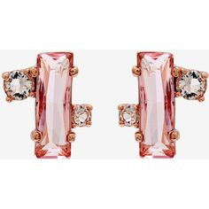 Ted Baker Crystal baguette earrings ($44) ❤ liked on Polyvore featuring jewelry, earrings, pale pink, earrings jewellery, ted baker earrings, crystal stone jewelry, ted baker jewellery and baguette earrings