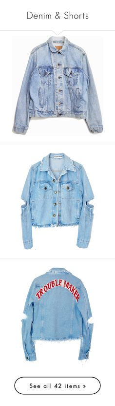 """""""Denim & Shorts"""" by trxdley-cxke ❤ liked on Polyvore featuring outerwear, jackets, coats, tops, vintage denim jacket, blue jackets, 80s jean jacket, levi jacket, vintage jacket and blue jean jacket"""