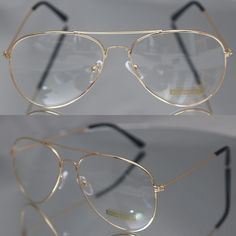 Aviator driving Designer Glasses Unisex Retro Gold Metal Frame Clear Lens in Health & Beauty, Vision Care, Other Vision Care Cute Glasses, Glasses Frames, Circle Glasses, Clear Aviator Glasses, Glasses Trends, Lunette Style, Fashion Eye Glasses, Womens Glasses, Swagg