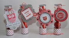 Valentine gumball treat tubes. Tags cut using #cricut artiste cartridge. #whoosyourvalentine #ctmh  www.fancymelissa.com