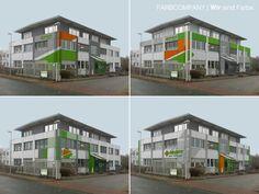 Farbentwürfe für eine gewerbliche Immobilie unter Berücksichtigung des firmentypischen Erscheinungsbildes von Farbe und Form und gestalterische Übertragung auf die Fassade.