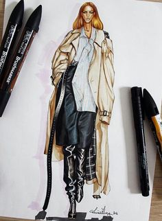 Fashion Illustration Speed Painting with Ink - Drawing On Demand Fashion Design Sketchbook, Fashion Design Portfolio, Fashion Design Drawings, Fashion Sketches, New Fashion Clothes, Look Fashion, Fashion Art, Female Fashion, Fashion Drawing Tutorial