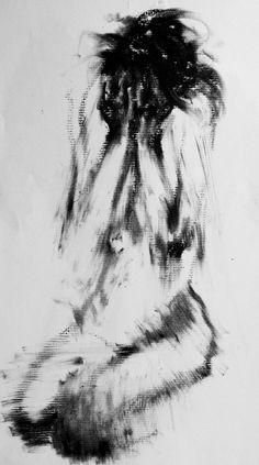 Haunting Figure Drawing Moody Dark Fine Art Crayon Figure Study No. 21