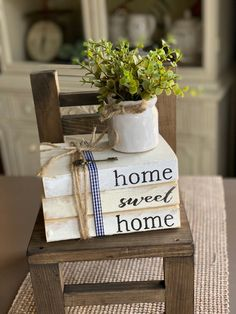 Home Sweet Home Farmhouse Books Stamped Books Book Stack Etsy
