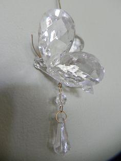 Glass Butterfly Christmas Ornament by baublesandblingforu on Etsy, $7.00