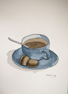Signed Watercolor Print Blue Coffee and Macaroons 8 inches Watercolor Painting Food Sketch Watercolor Art Lessons, Watercolor Drawing, Watercolor Print, Watercolor Illustration, Painting & Drawing, Watercolor Paintings, Fairy Paintings, Watercolor Food, Watercolor Portraits