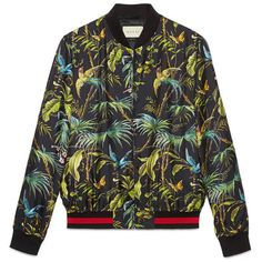 Gucci Tropical Print Silk Jacket ($1,480) ❤ liked on Polyvore featuring men's fashion, men's clothing, men's outerwear, men's jackets, men, outerwear, ready to wear, mens bomber jacket, mens flight jacket and mens silk jacket