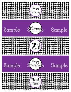 Printable MM Elephants Pink Purple Water Bottle Label Wrappers