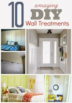 10 Amazing DIY Wall Treatment Tutorials from TheHowToCrew.com.  Easy, step-by-step tutorials to achieve these looks in your own home! #home #diy #tutorials