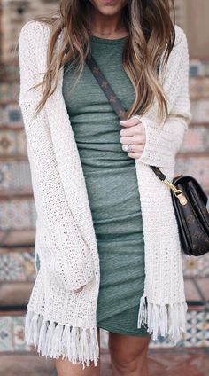 Green tank dress with white knit fringe cardigan