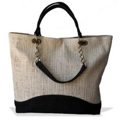 BRYNA quintara tote (cream woven w/ black woven trim) - spring 2012 line - love!!! http://shopbryna.com/store/spring-2012/quintara-woven.html