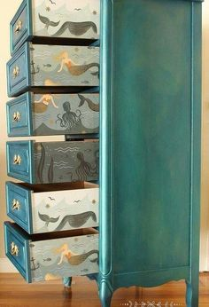 diy sparkling mermaid lingerie chest, painted furniture