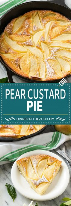dinneratthezoo custard dessert recipe pears pear fall pie Pear Custard Pie Recipe Pear PieYou can find Pear dessert recipes and more on our website Brownie Desserts, Oreo Dessert, Mini Desserts, Custard Desserts, Delicious Desserts, Snack Recipes, Cooking Recipes, Pear Recipes For Diabetics, Deserts