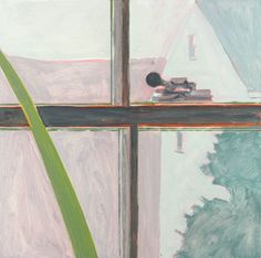 Lois Dodd, WINDOW CROSSPIECE 2014 oil on masonite 12 x 12 inches