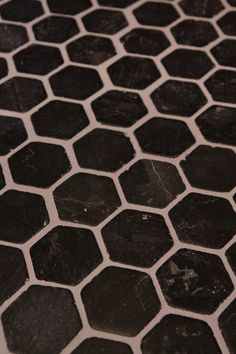 Black Hexagon Floor With Gray Grout