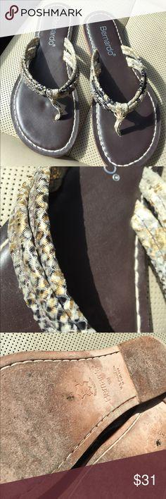 694d4fc10f Bernardo snake skin thongs Bernadine snake skin thins leather soles  Bernardo Shoes Sandals Thongs