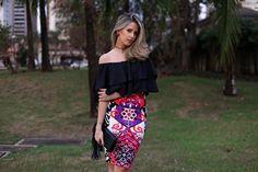 Marina Casemiro » Look: cropped babado preto + saia midi etnica + chocker negro cravejado com pedra!