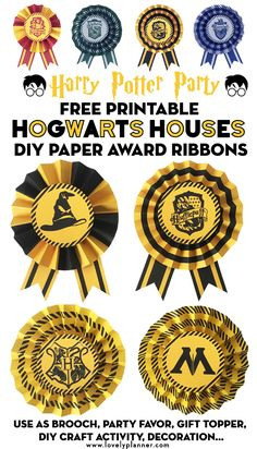 Free Printable Hogwart's Houses DIY Paper Award Ribbons to create awesome party favors or decoration for your Harry Potter Party. Gryffindor, Slytherin, Hufflepuff and Ravenclaw Houses colors included! Many ways to use them: brooch, sorting hat, DIY craft station, reward, party favor, gift topper, garland... Easy craft for kids #harrypotter #HarryPotterparty #freeprintable #hogwarts #harrypotterprintable #DIY #craft #partydecor #kidscraft #halloween #lovelyplanner