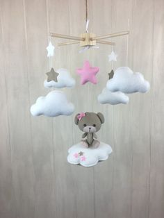 Baby mobile  teddy bear mobile  pink  by JuniperStreetDesigns