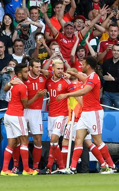 Wales' players celebrate after Northern Ireland scored an own goal during the Euro 2016 round of sixteen football match Wales vs Northern Ireland on. Welsh Football, Football Match, Football Team, Wales Euro 2016, Welsh Rugby, Uefa Euro 2016, 2016 Pictures, Own Goal, Soccer