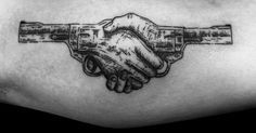 Tattoo Artist: Loïc LeBeuf. Tags: styles, Surrealism, Engravings, Other, Handshake, Anatomy, Hands, weapons, Gun, Revolver. Body parts: Inner Arm.