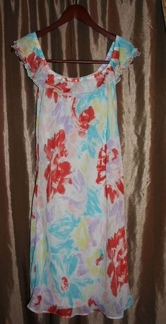 Old Navy Floral Sheer Lined Sun Dress Size M Pastel Red Blue Yellow Violet