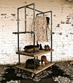 Industrial Garment Rack Cart by stellableudesigns on Etsy, $579.00 - love this - would be really cool for a guys wardrobe