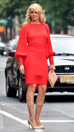 The Other Woman Movie Fashion: CARLY�S LONG-SLEEVE RED DRESS