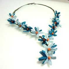 silk needle lace necklace by guldemirdinc on Etsy, $70.00