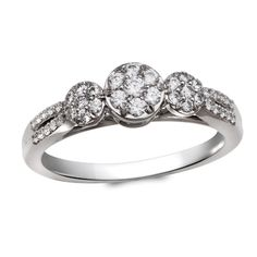 *** Cherished Promise Collection™ 3/8 CT. T.W. Diamond Three Stone Cluster Ring in 10K White Gold $499.99 (On Sale from $719.00) ***